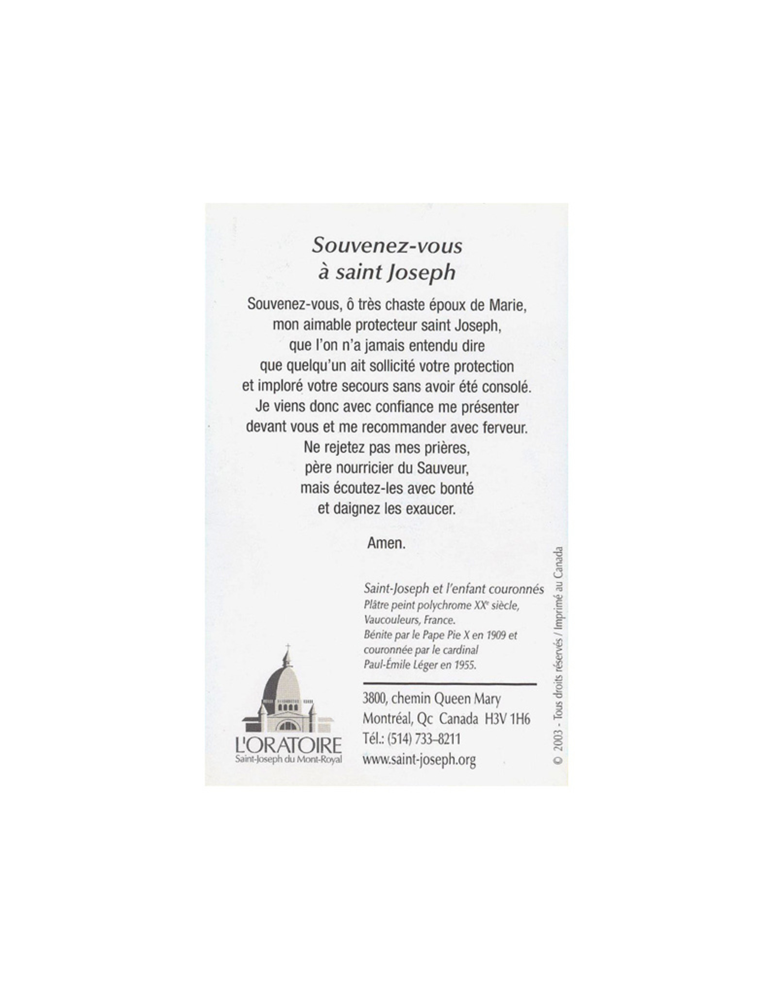L'Oratoire Saint-Joseph du Mont-Royal Prayer card Saint Joseph (french)
