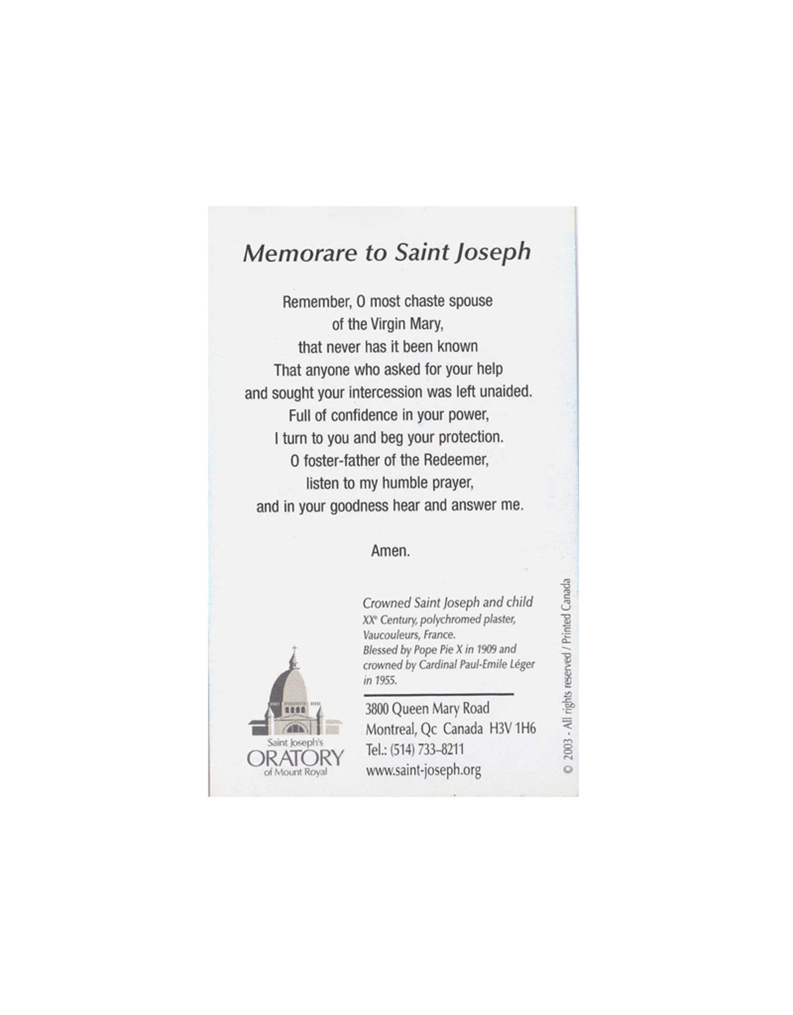 L'Oratoire Saint-Joseph du Mont-Royal Prayer card Saint Joseph
