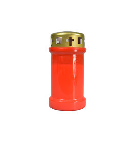Red votive candle with lid