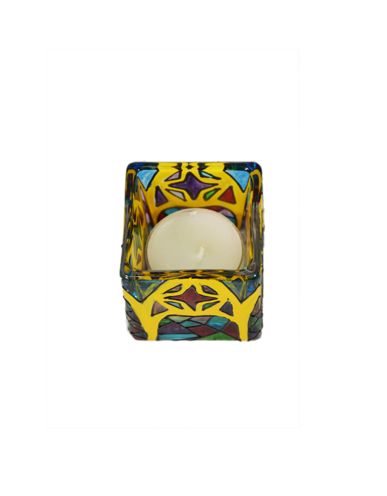 Stained glass votive candle holder-small