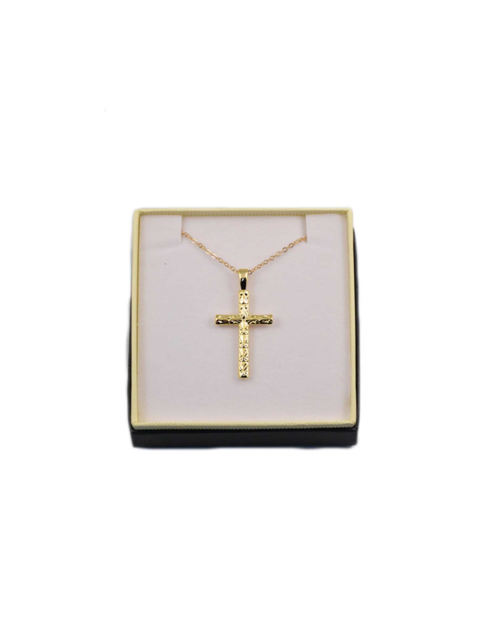Golden ciseled cross and 18'' chain