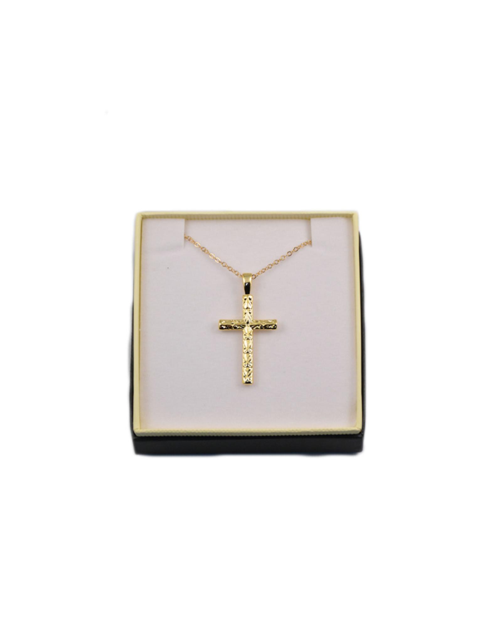 Pendentif: croix dorée ciselé sur chaîne 18''
