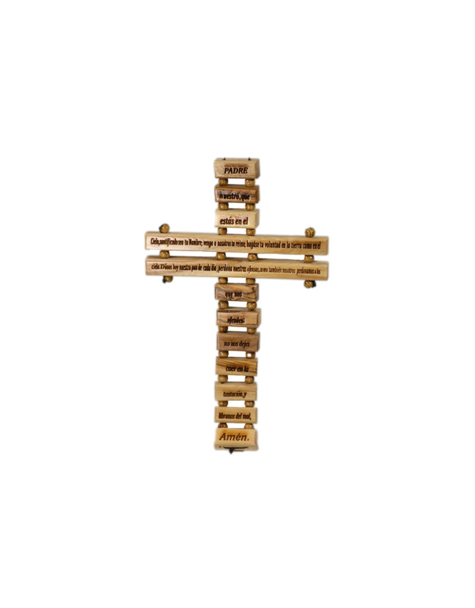 Olive wood ''Padre Nuestro'' cross (spanish)