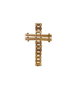 Olive wood ''Padre Nuestro'' cross (spanish)