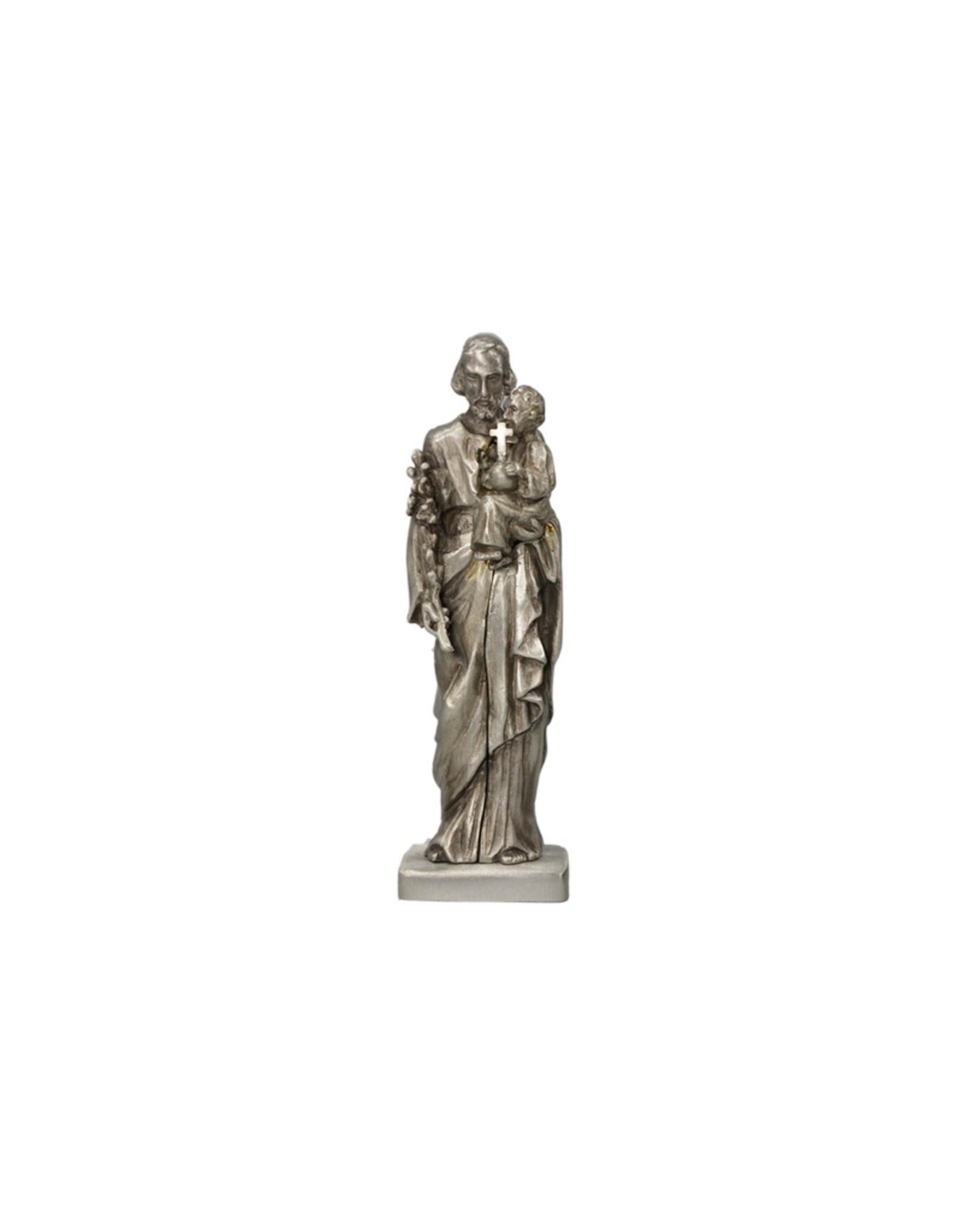 Statue Saint Joseph et Enfant argenté antique (13cm)