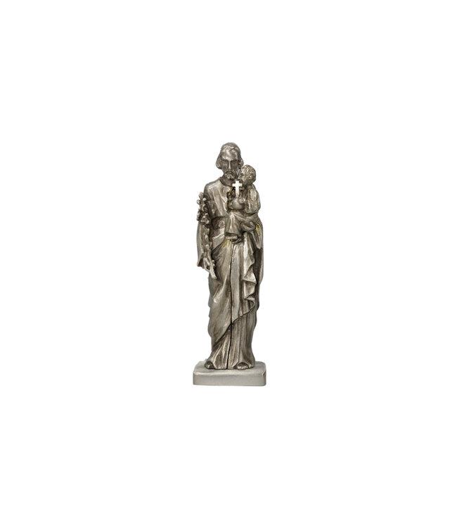 Saint Joseph and Child antique silver finish (13cm)