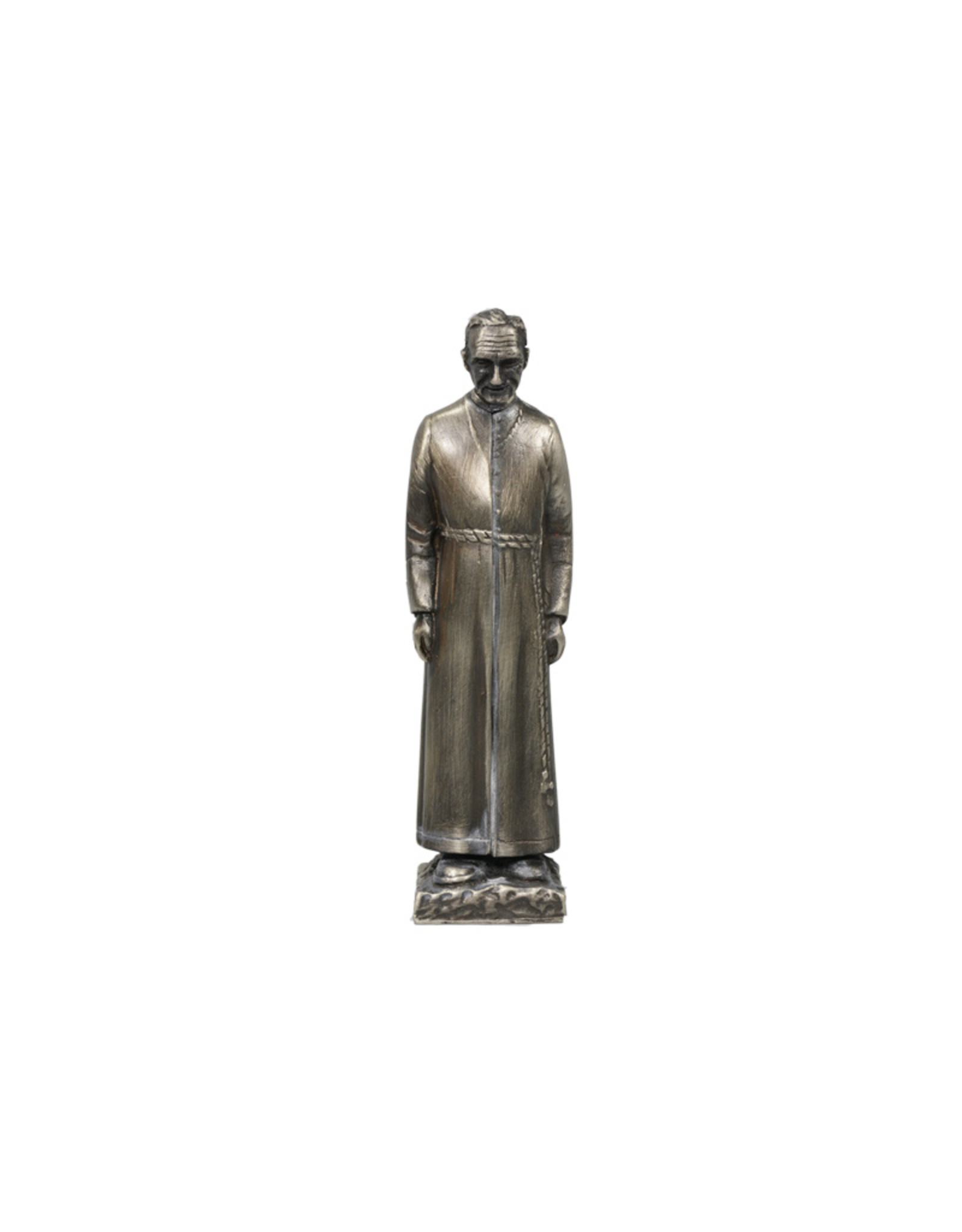 Saint Brother Andre statue, antique silver finish (13cm)
