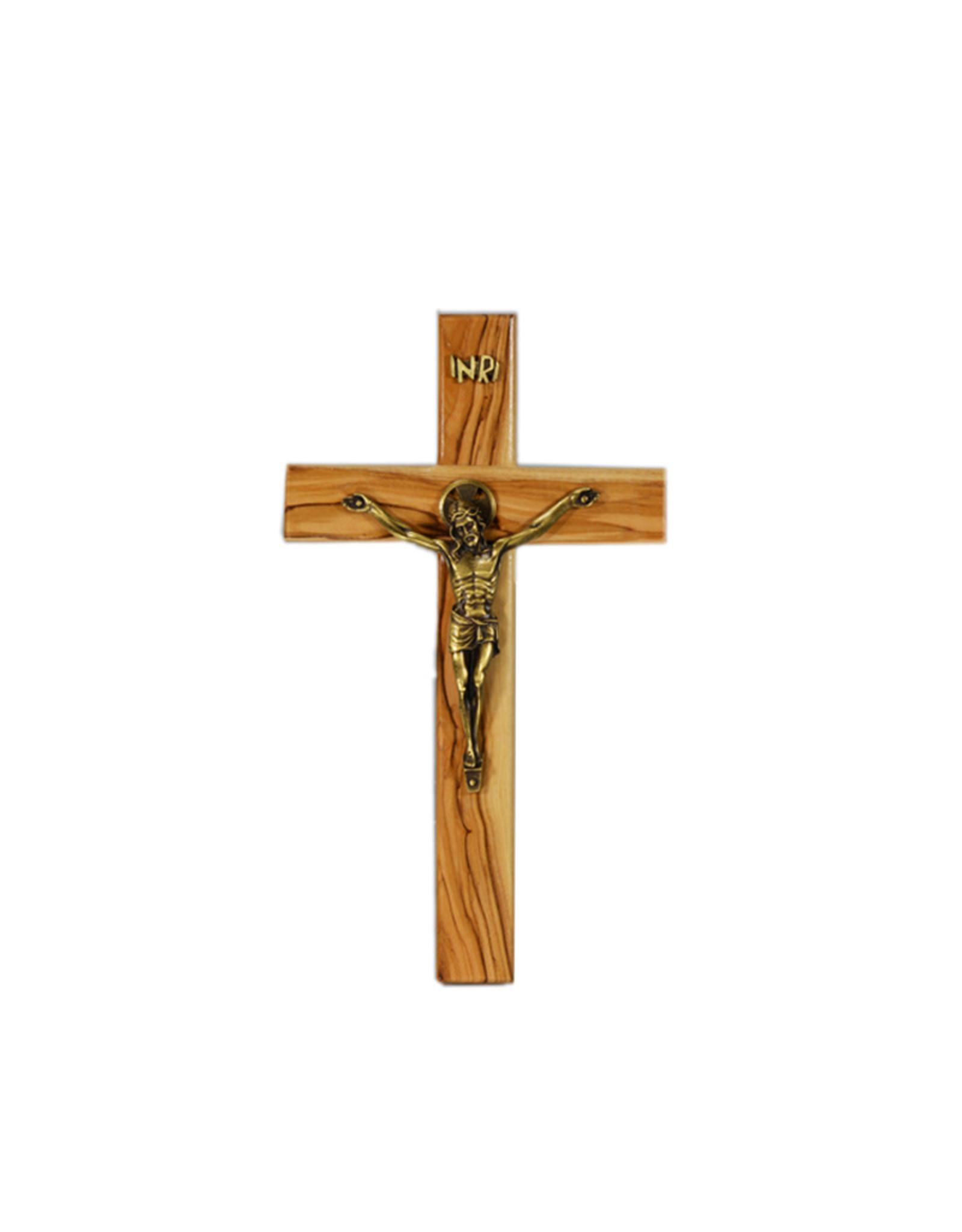 Crucifix bois d'olivier corpus bronze
