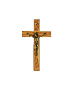 Olive wood crucifix with a bronze corpus