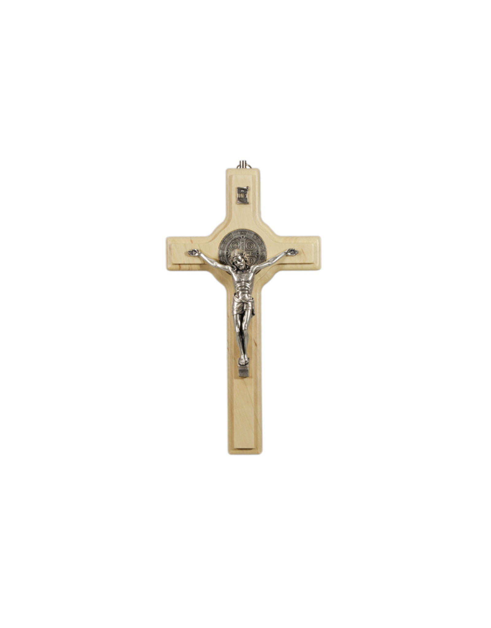 Light wood Saint Benedict crucifix