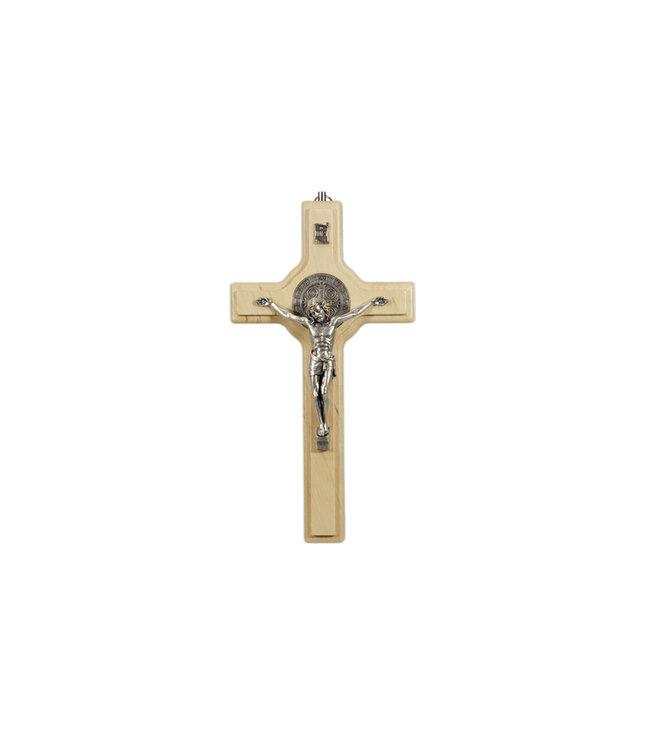 Crucifix saint Benoît en bois clair
