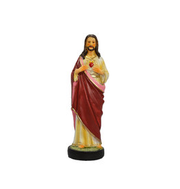 Statue Sacré-Cœur de Jésus résine couleur (15cm)