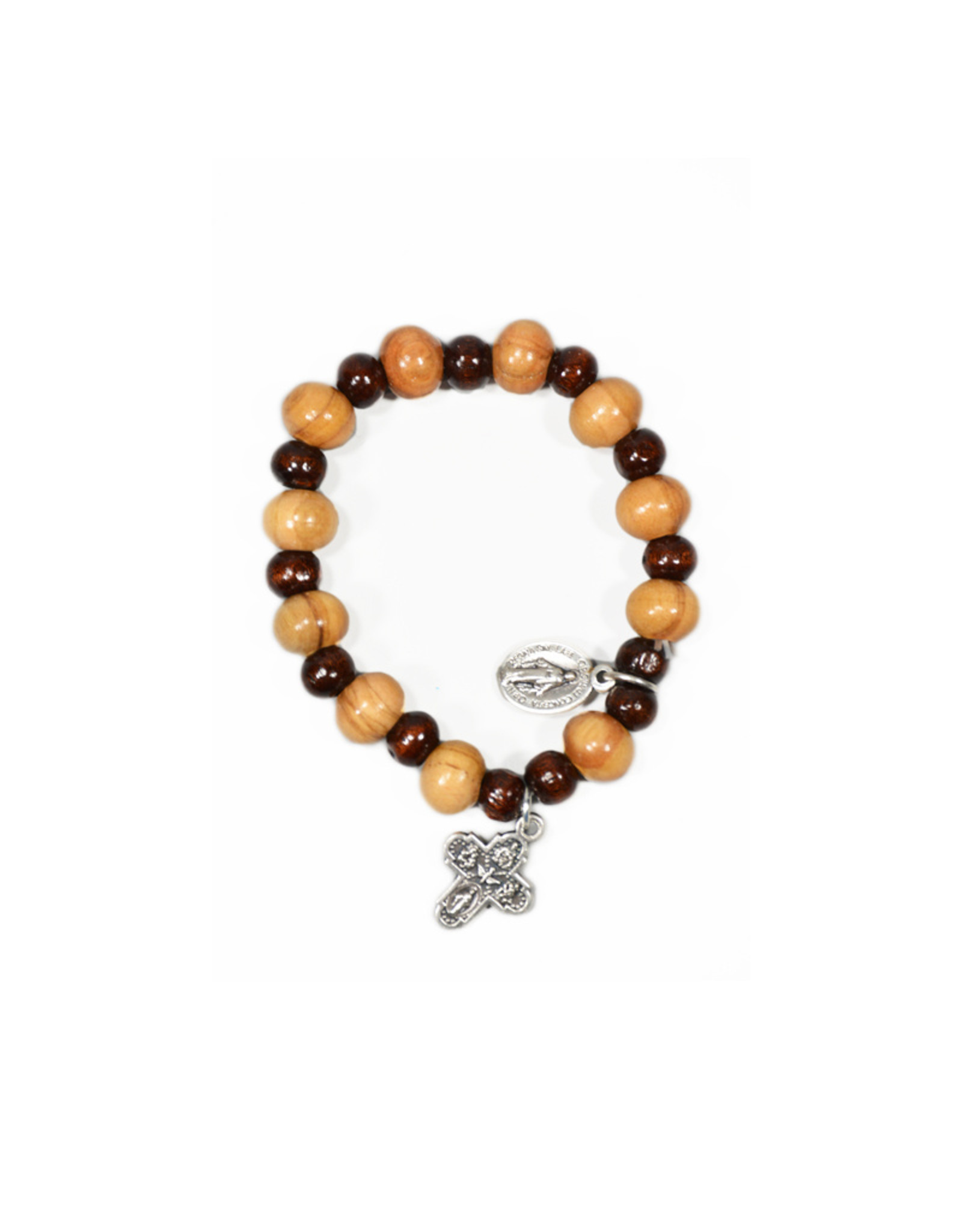 Two-tone olive wood bracelet with cross and medal