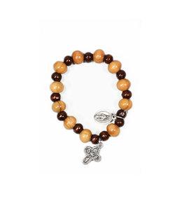 Bracelet en bois d'olivier deux tons croix et médaille