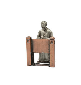 Statue Saint Brother André praying on kneeler