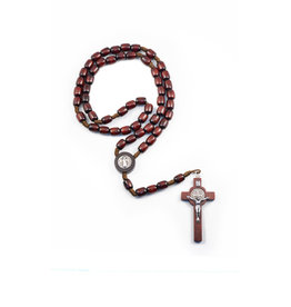 Saint Benedict dark wood rosary on rope