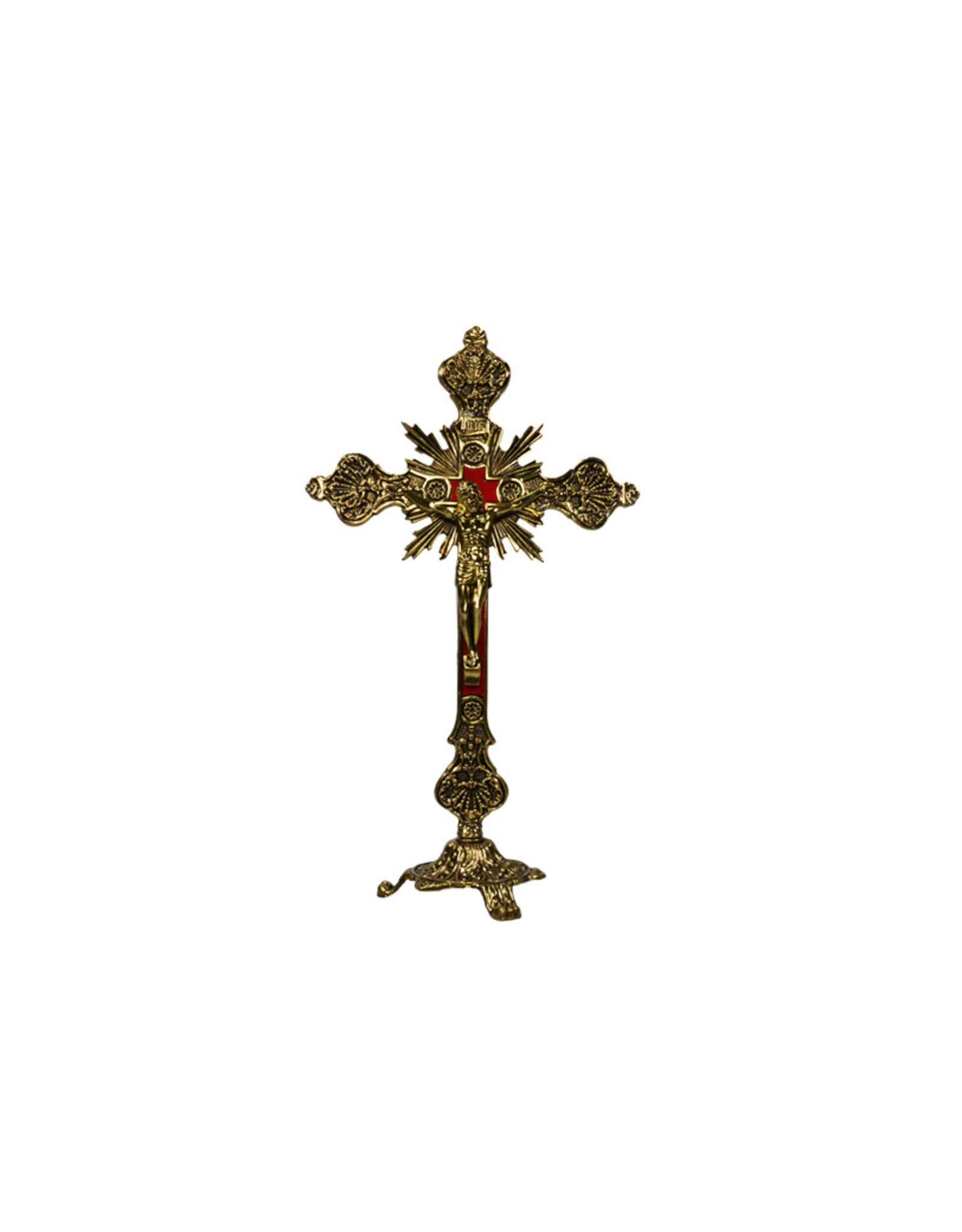 Satnding brass crucifix with velvet background