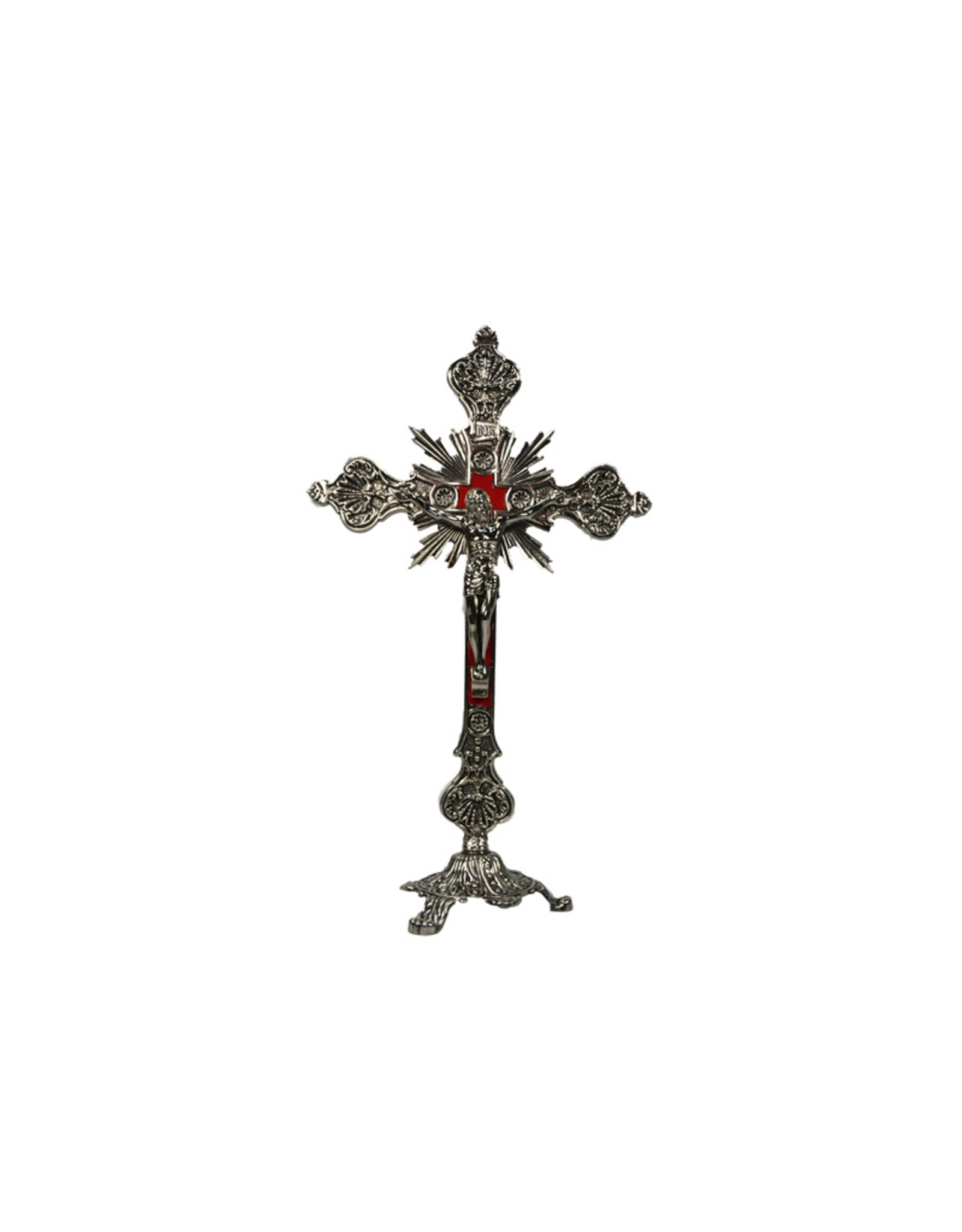Crucifix en laiton, velours rouge, sur sa base
