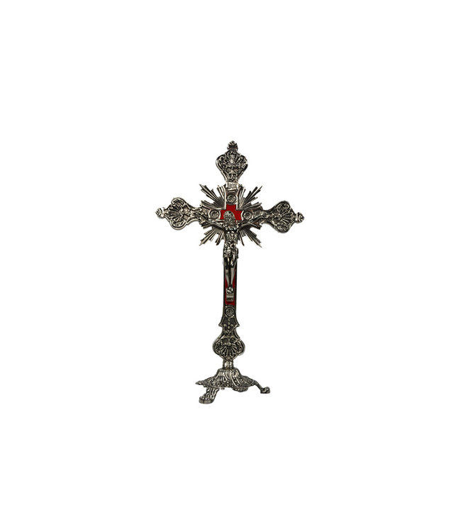Standing brass crucifix with velvet background