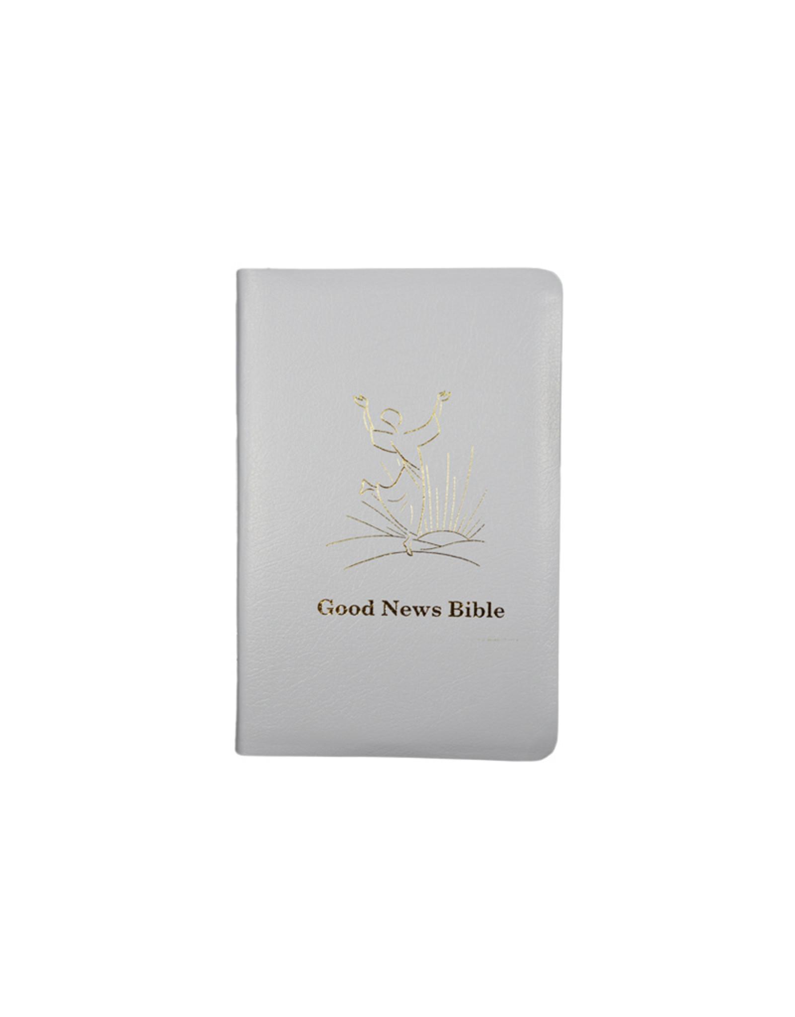 Société Biblique / Bible Society Good News Bible ,  Couverture simili cuir blanc tranche dorée (anglais)