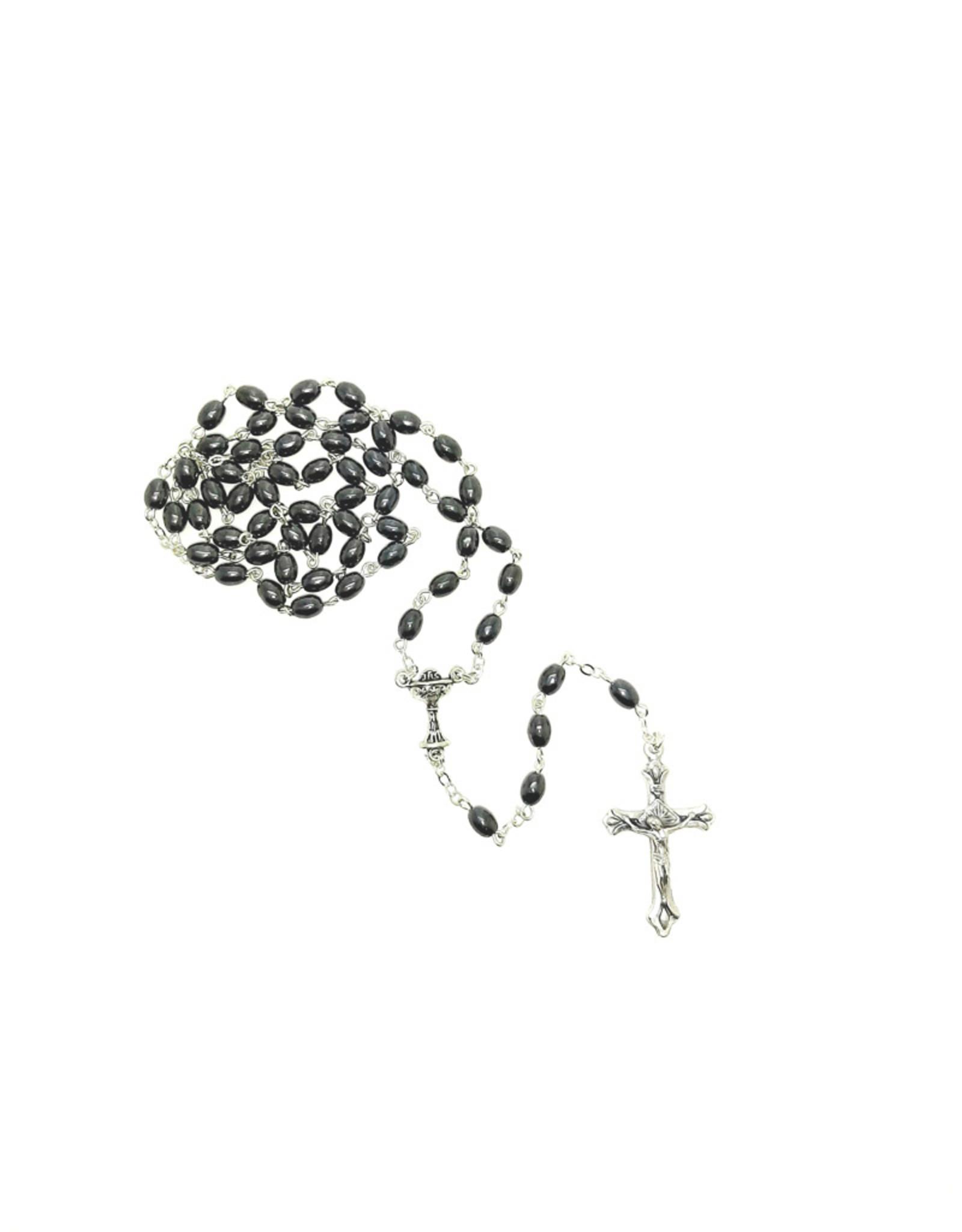 First communion rosary : hematite