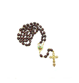 Saint Michael dark wood rosary