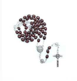 Saint Benedict rosary dark wood on chain