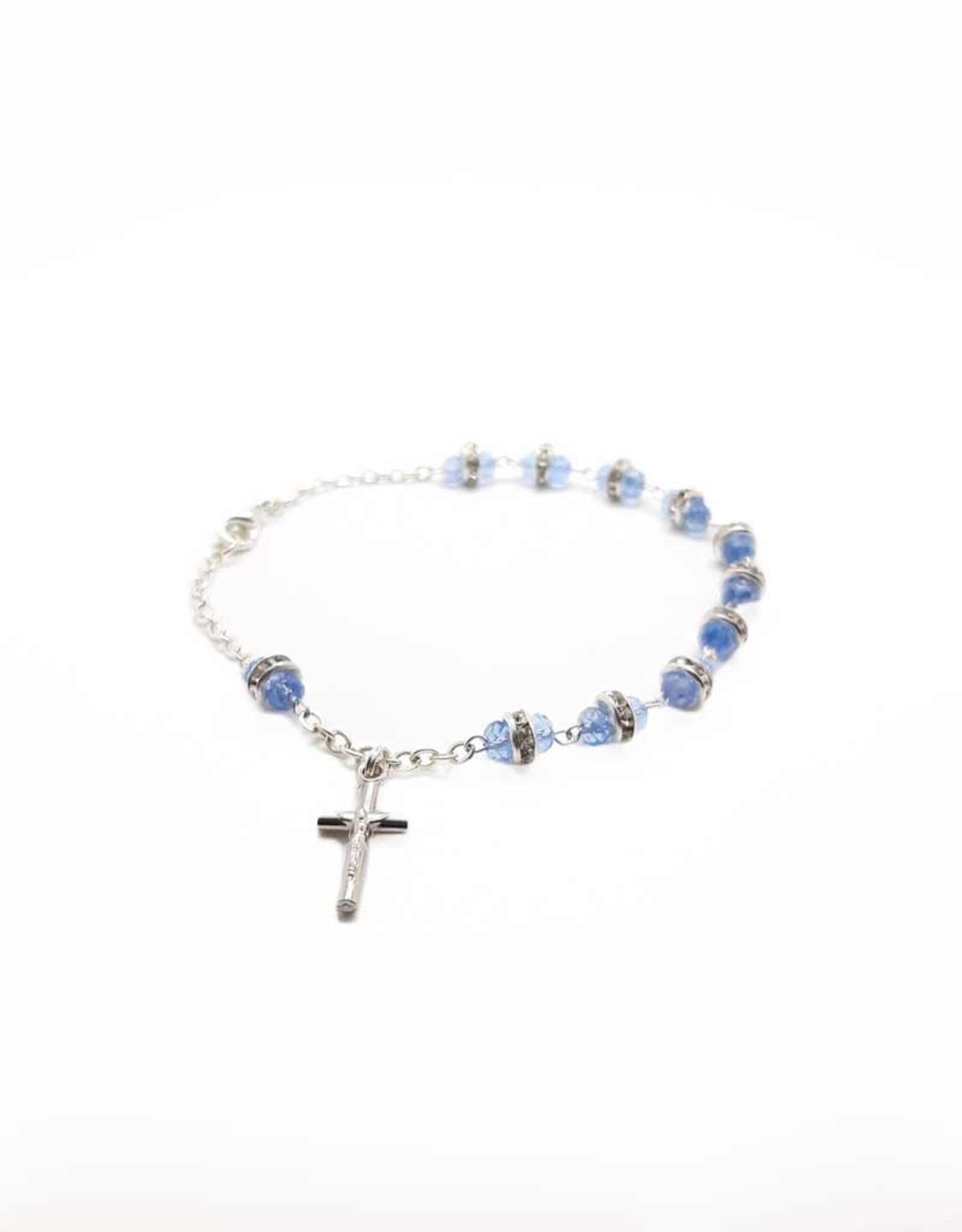 Light blue Swarovki crystal rosary bracelet