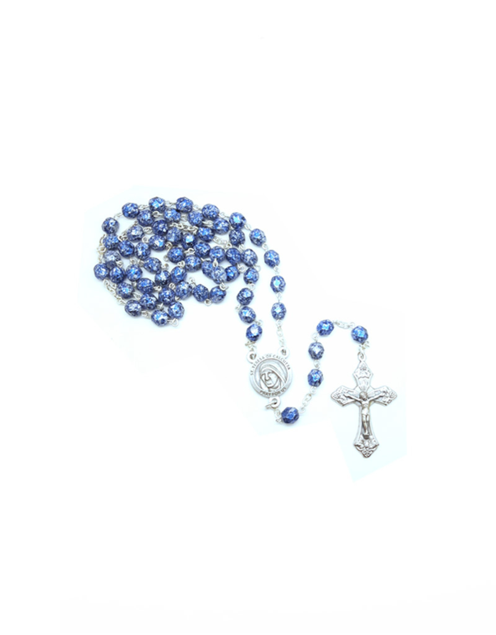 Mother Teresa blue stone finish rosary