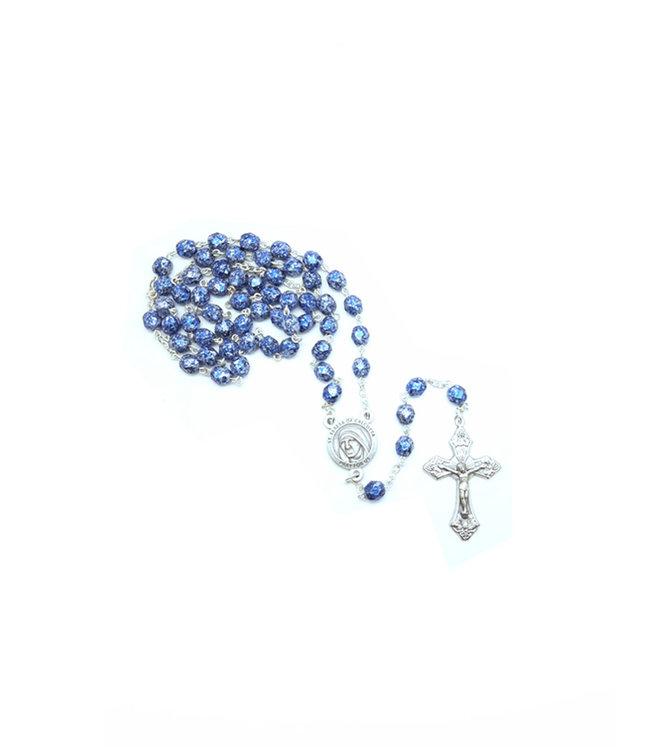 Chapelet Mère Teresa bleu fini pierre