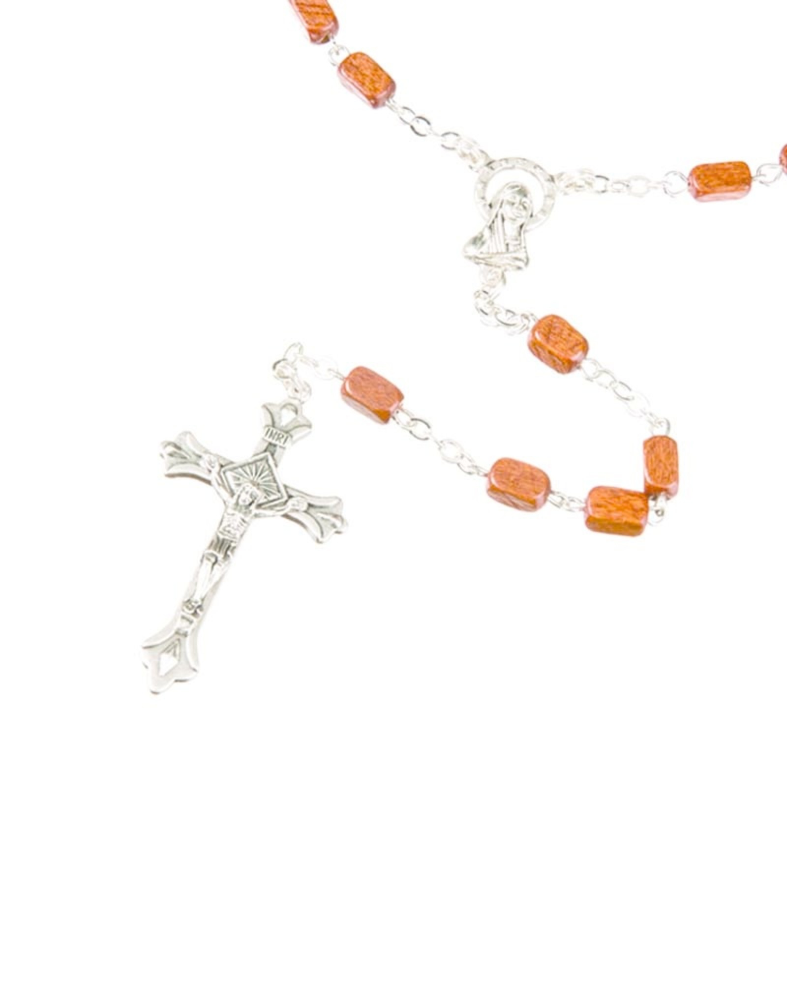 Rectangular wooden beads rosary