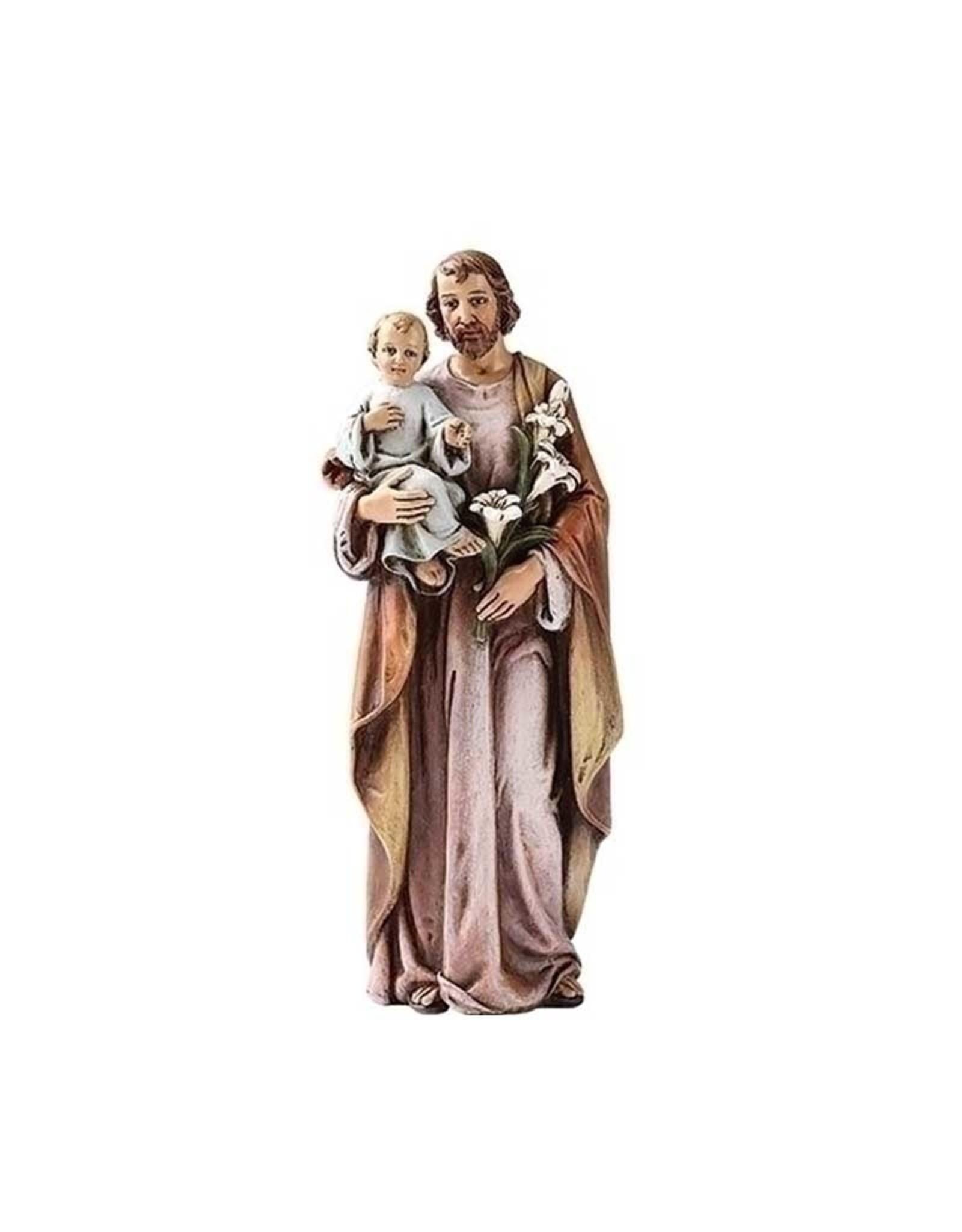 Joseph's Studio / Roman Statue Saint Joseph en résine couleur lilas et brun