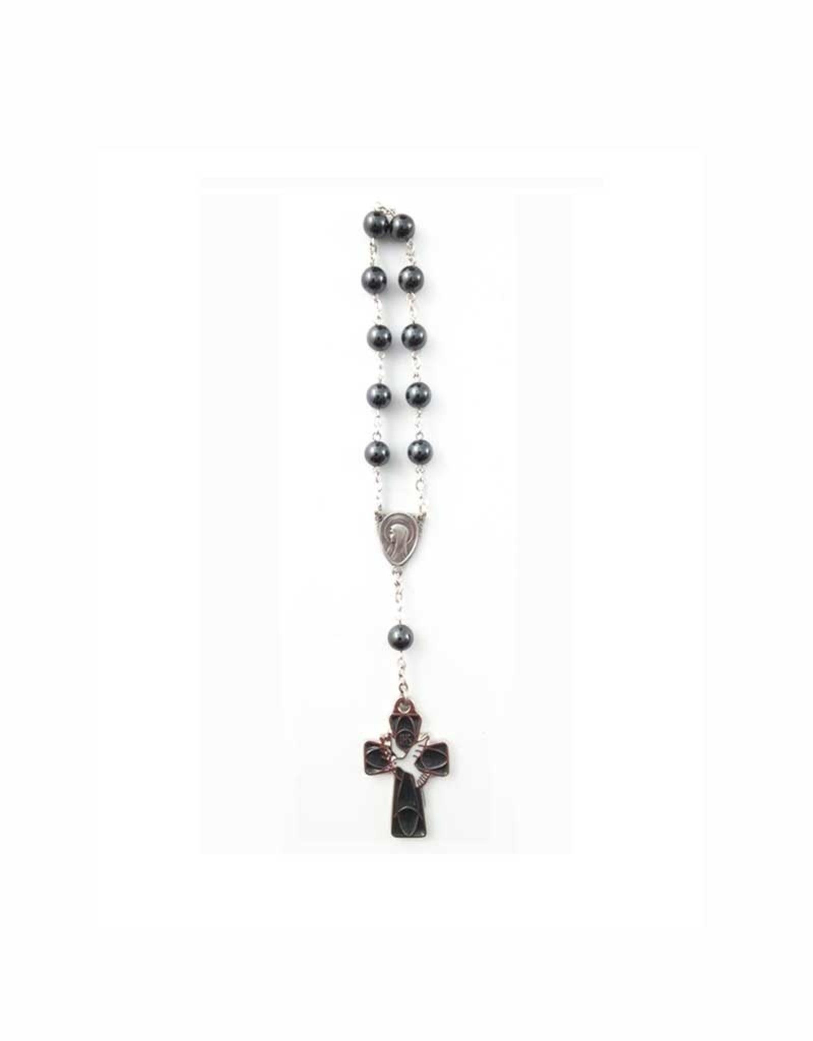 Hematite Virgin Mary decade rosary with dove