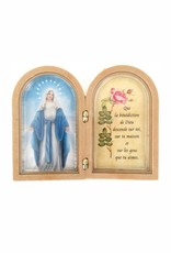 Mini cadre double Vierge Marie avec prière