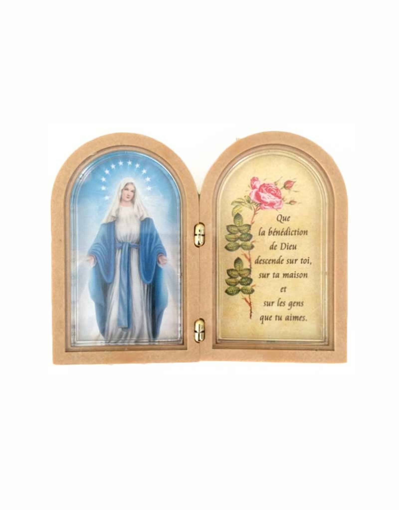 Small Virgin Mary double frame with prayer (french)