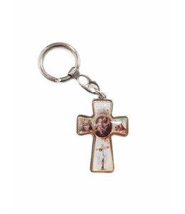 Porte-clés saint Joseph croix métal couleur