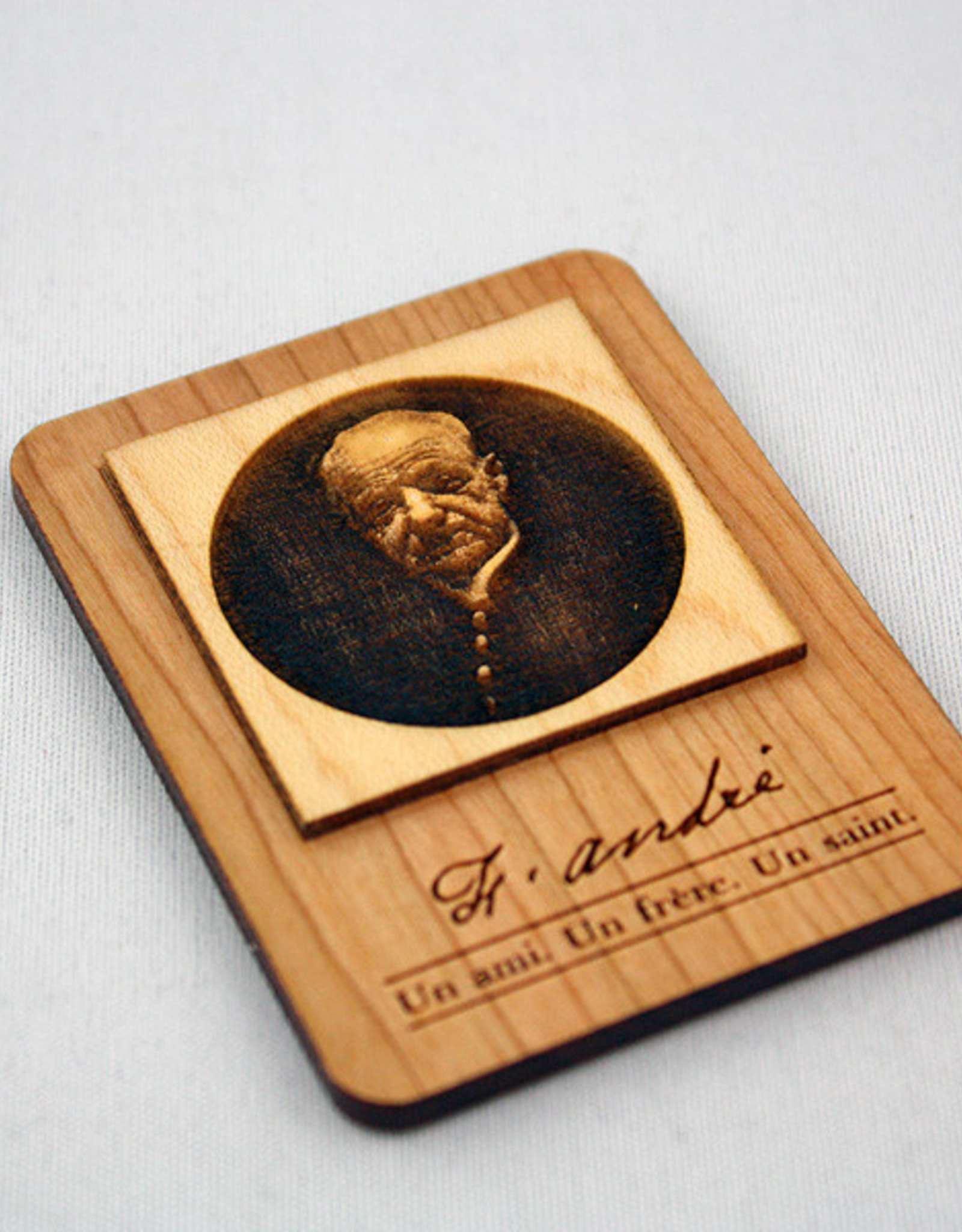 Saint Brother André engraved wooden magnet