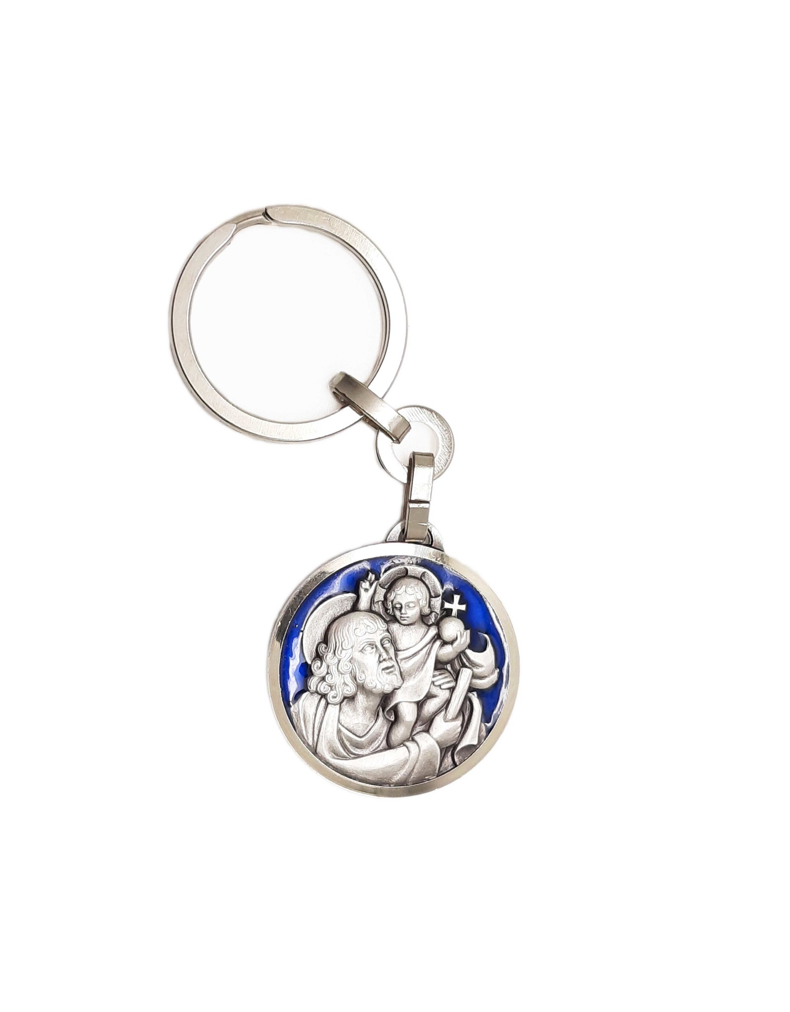 Porte-clés Saint-Christophe métal émaillé bleu