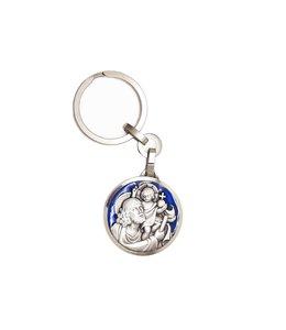 Keychain : Saint Christopher blue enamel