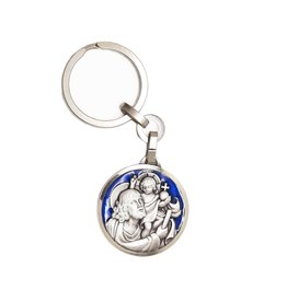 Keychain : Saint Christopher blue enamel