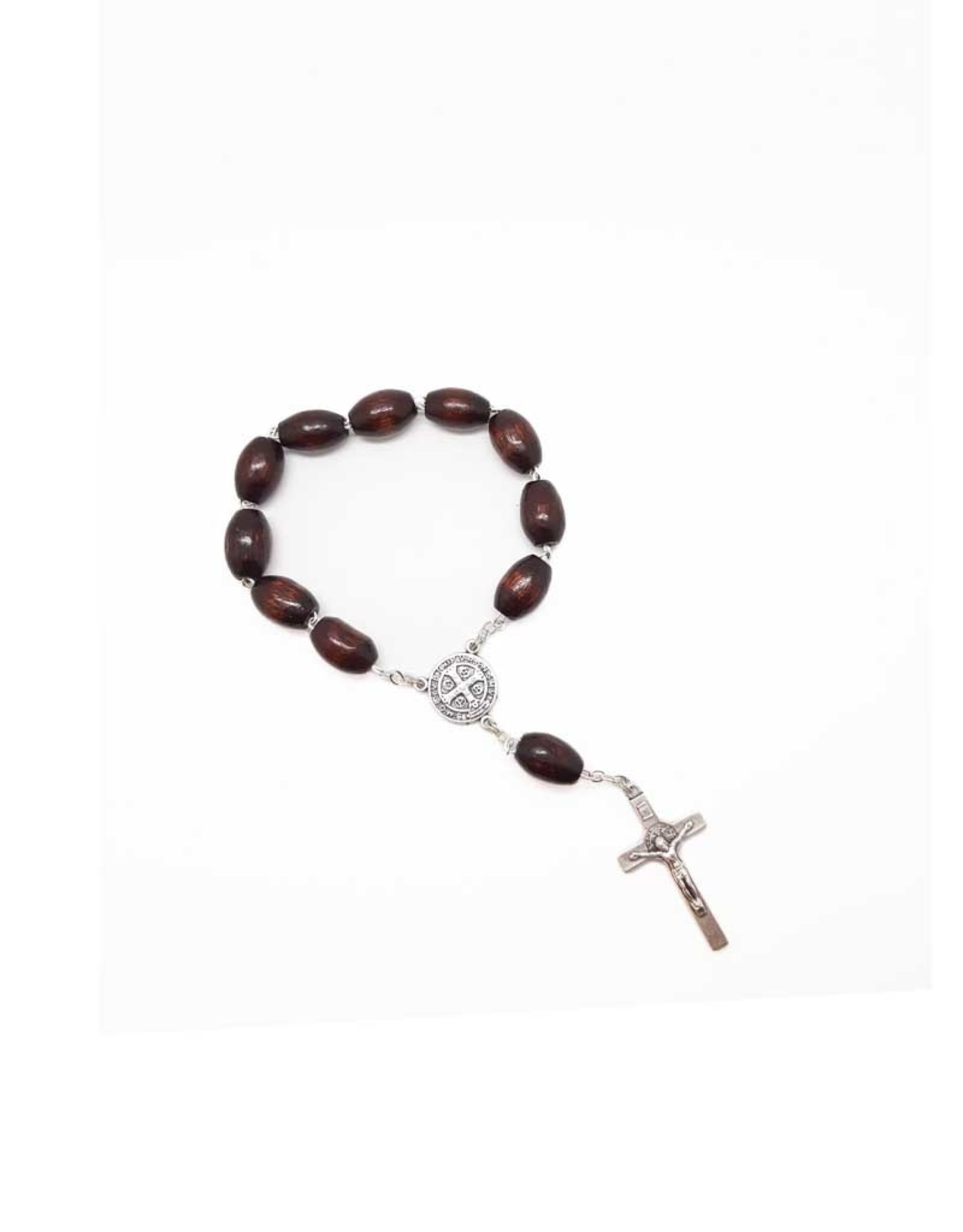 Saint Benedict dark wood rosary