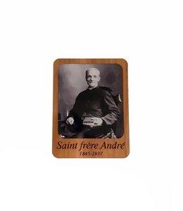 Aimant en bois saint frère André (noir et blanc)