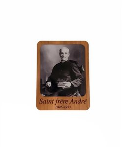 Saint Brother André wooden magnet (black and white)