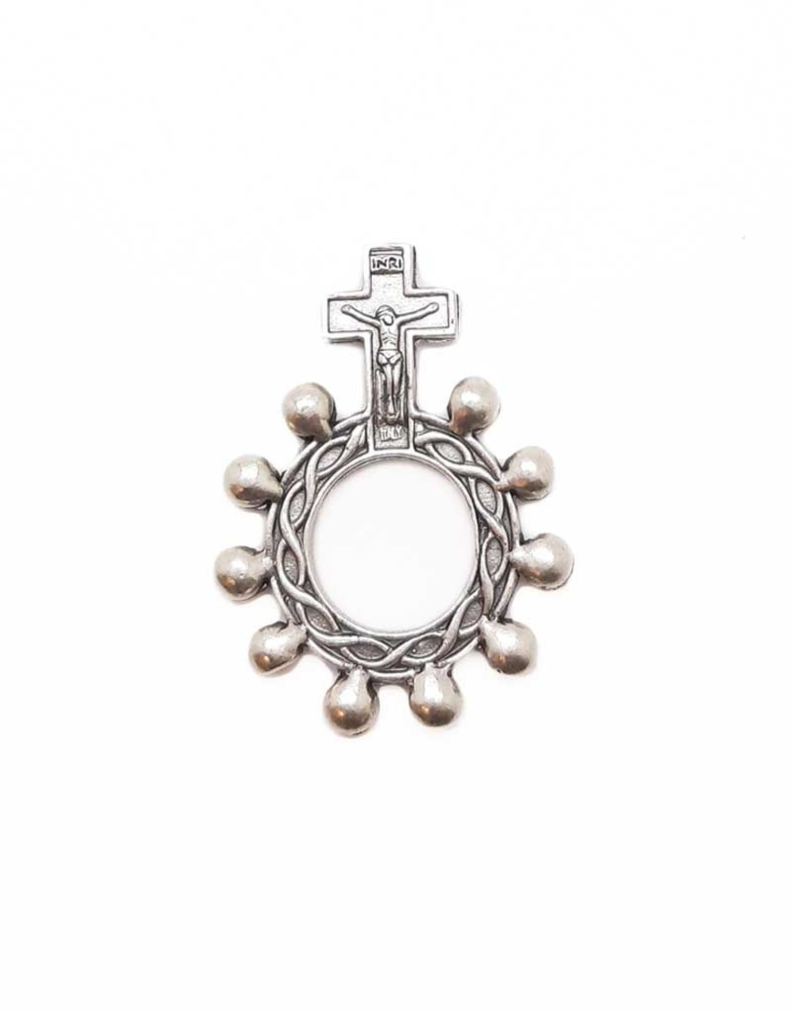 Silvery scout rosary ring