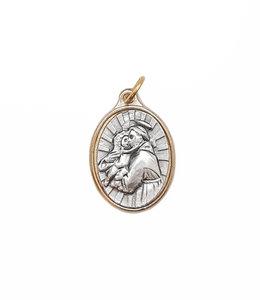 Médaille saint Antoine (couleur argent sur or)