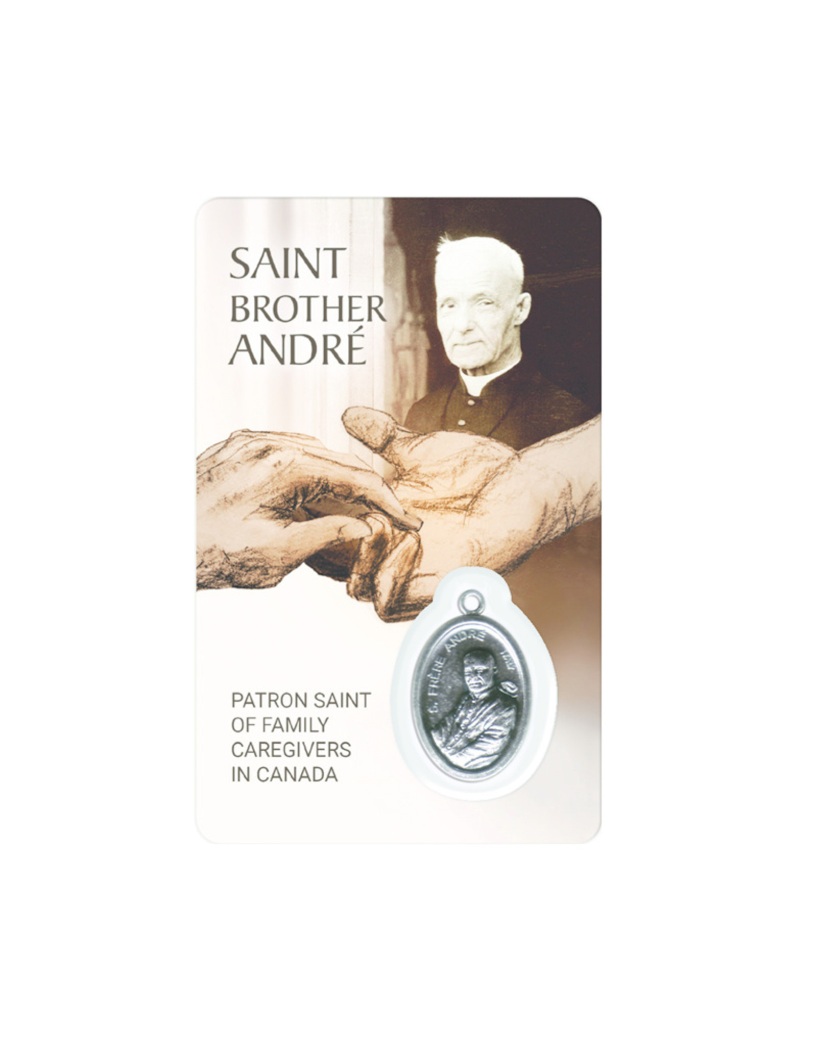 Carte médaille Saint BrotherAndré, patron Saint of family caregivers (anglais)