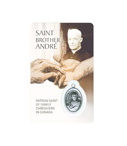 Carte médaille Saint Brother André, patron Saint of family caregivers (anglais)