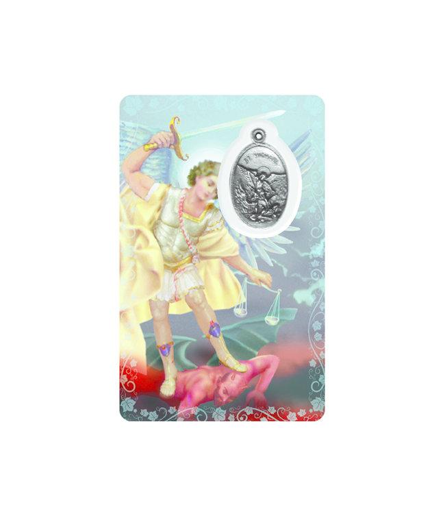 Carte médaille archange  saint Michel (anglais)