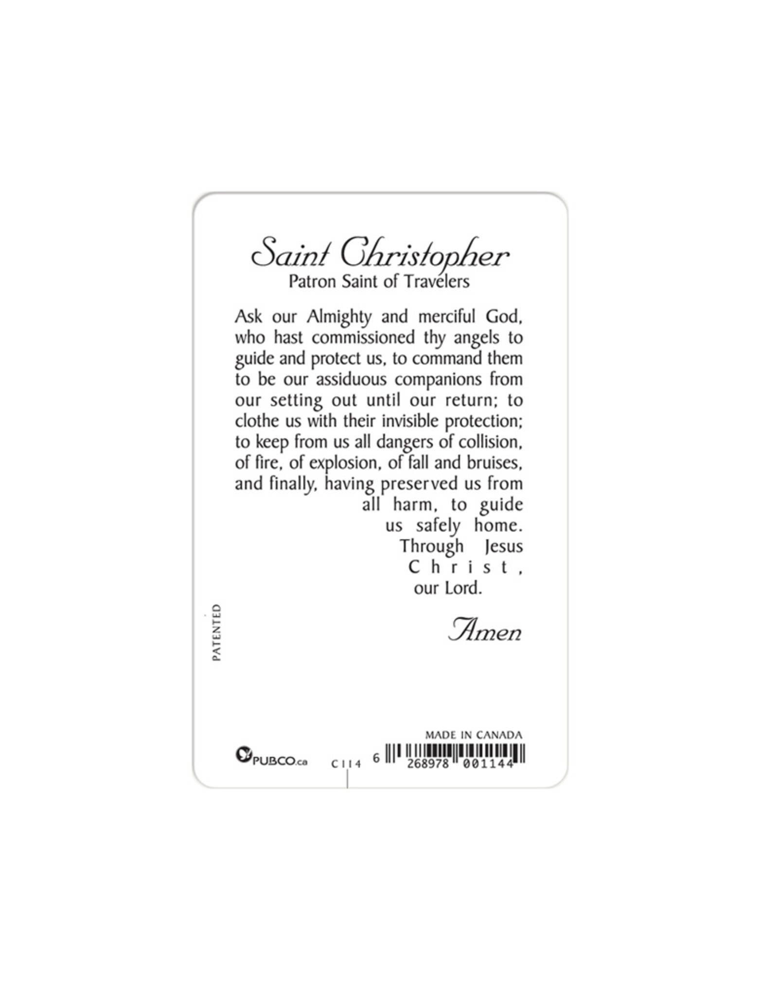 Medal card : Saint Christopher