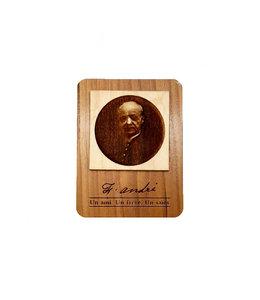 Saint Brother André engraved wooden magnet